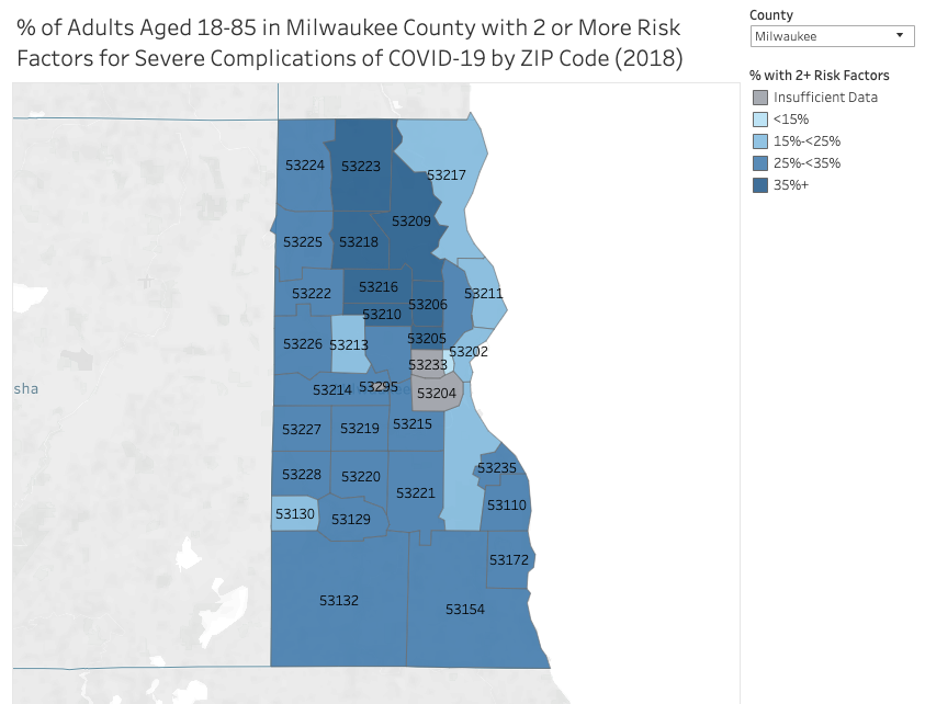 Percentage of adults aged 18-85 in Milwaukee County with two or more risk factors for severe complications of COVID-19 by zip code